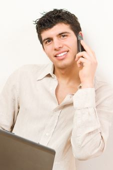 Free Young Man On Laptop And Mobile Stock Images - 8506484