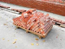 Pile Of The Baked Bricks Stock Photography