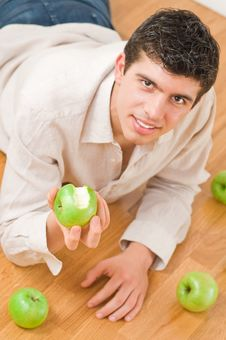 Free Man Eating Apples Stock Images - 8506634
