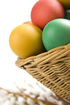 Free Colorful Easter Eggs And Yellow Tulips Stock Images - 8506764