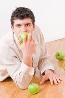 Free Man Eating Apples Stock Photos - 8506793
