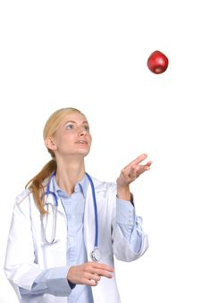 Female Medical Student Tossing Royalty Free Stock Photo
