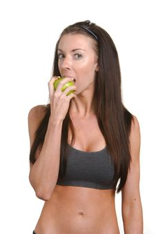 Free Fitness Woman Biting An Apple Stock Photos - 8508193