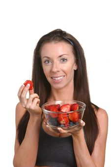 Free Fitness Woman Eating Fresh Fruit Stock Photography - 8508222
