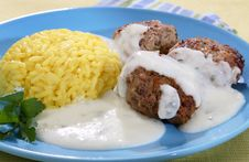 Rice With Meat Balls Stock Images
