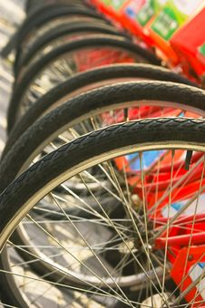 Free A Row Of Bicycles Stock Image - 8508821