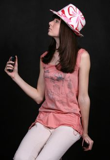 Girl With A Phone Royalty Free Stock Photography