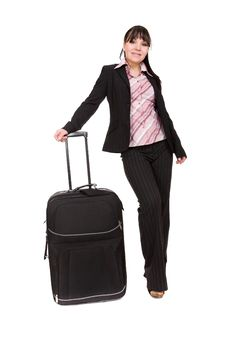 Businesswoman With Suitcase Royalty Free Stock Images