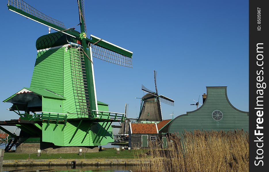 View on windmill for grinding pigements, saw mill