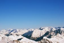 Landscape Of Snow-capped Mountain Peaks In The Alps, And A Lot Of Air Cleanliness Stock Image