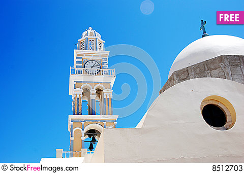 Free Clock Tower At The Church - Santorini Stock Photos - 8512703
