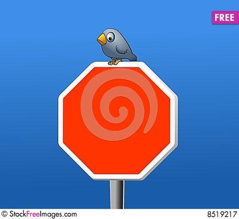 Bird and stop Stock Photo
