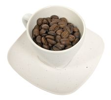 Free Cup With Coffe Beans Stock Images - 8510064