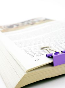 Free Book With Paper Clip Stock Photo - 8510470