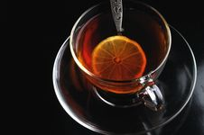 Free Glass Cup Of Tea With Lemon Royalty Free Stock Images - 8510489