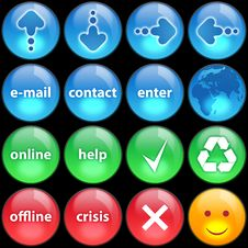 Green, Blue And Red Buttons On Black Background Stock Images
