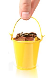 Free Bucket Full Of Coins. Royalty Free Stock Image - 8510686