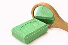Free Green Soap Reflecting On A Mirror Stock Photo - 8510890