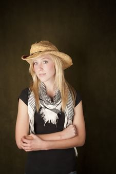 Free Pretty Boldne Teenager In A Cowboy Hat Royalty Free Stock Photo - 8510915