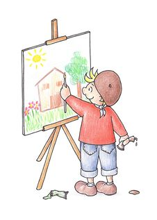 Free Kid Painting On A Canvas Stock Photos - 8511093