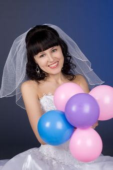 Free Beautiful Brunette Bride With Balloons Royalty Free Stock Photo - 8511855