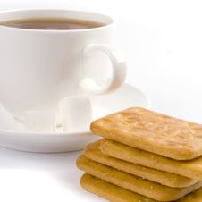 Free Cup Of Tea, Sugar And Cookies Royalty Free Stock Images - 8512039