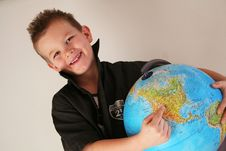 Free Boy With Globe Stock Photography - 8512242