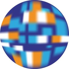 Button (web Button Looking 3d) Blue, White, Orange Stock Photo
