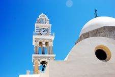 Clock Tower At The Church - Santorini Stock Photos