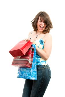 Free Cute Girl After Successful Shopping Royalty Free Stock Images - 8513439