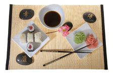 Free Sushi Plate With Chopsticks And Flower Royalty Free Stock Images - 8513709