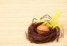 Eggs In Nest With Feathers Stock Photos