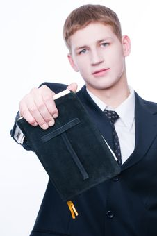 Free Young Man Showing Bible Stock Image - 8514071