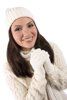Pretty Asian Girl In Winter Clothes Stock Image