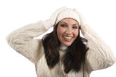 Asian Woman In Winter Clothes Stock Photography