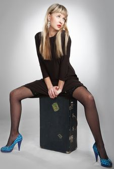 Free Young Blonde Girl With Suitcase Stock Image - 8515541