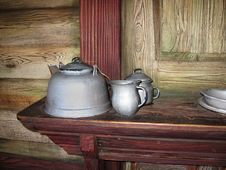 Free Antique Teapots In An Old House Stock Image - 8516751