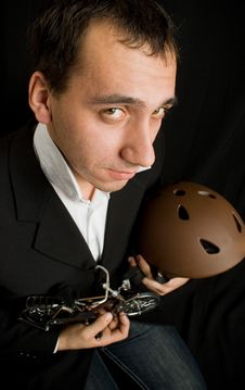 Man With Toy Bikes In The Hands Royalty Free Stock Images