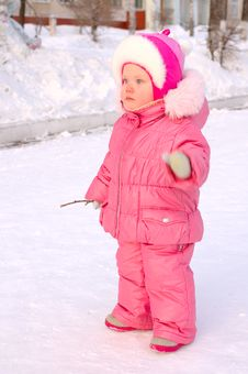 Free Pretty Little Girl In Winter Outerwear. Royalty Free Stock Photography - 8519107