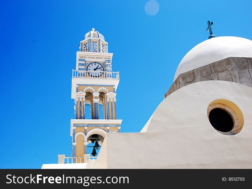Clock tower at the church - Santorini