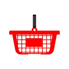 Shopping Basket Or Cart - Red Colour. Stock Images