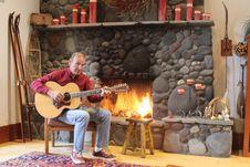 Free Paul - Fireplace And Guitar 2.JPG Stock Photos - 85134463