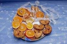 The Mandarin Slices, Cookies, Hearts, Lace Bow 5 Stock Image