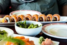 Free Sushi Rolls On Table Stock Photography - 85192182