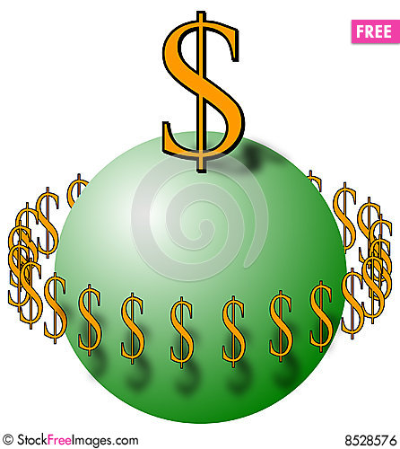 Free Sphere With Dollar Signs Royalty Free Stock Image - 8528576