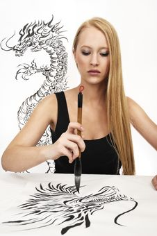 Free Woman DESIGN Chinese Calligraphy: DRAGON Stock Photography - 8520462