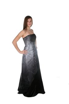 Free Beautiful Teen In Floor Length Dark Glittery Gown Royalty Free Stock Images - 8520479