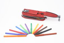 Free Pencil Case With Felt-tip Pens Stock Images - 8520764