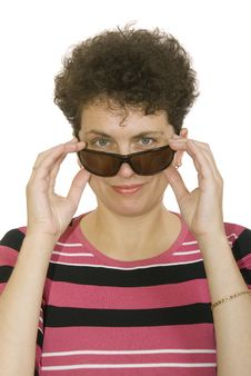Free Curly Woman With Spectacles Royalty Free Stock Photos - 8521028