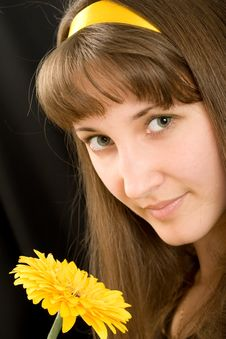 Free Portrait Of Beautiful Girl With Yellow Flower Stock Image - 8521151